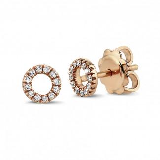 イヤリング - 小さなダイヤモンド付きピンクゴールドOOイアリング