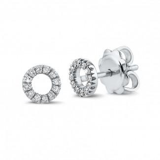 ブリリアント付きゴールドのピアス - 小さなダイヤモンド付きホワイトゴールドOOイアリング