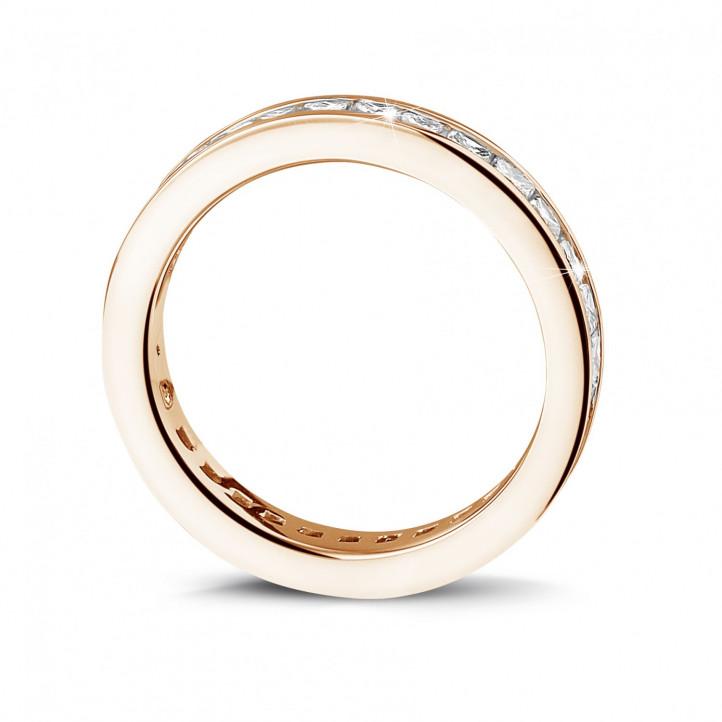1.75 カラットの小さなプリンセスダイヤモンド付きピンクゴールドエタニティリング (フルセット)