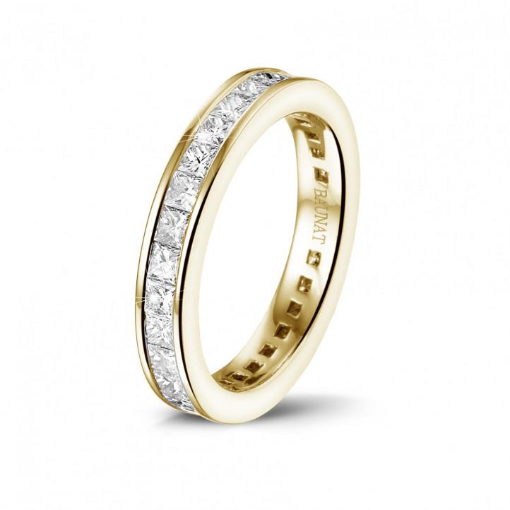 1.75 カラットの小さなプリンセスダイヤモンド付きイエローゴールドエタニティリング (フルセット)