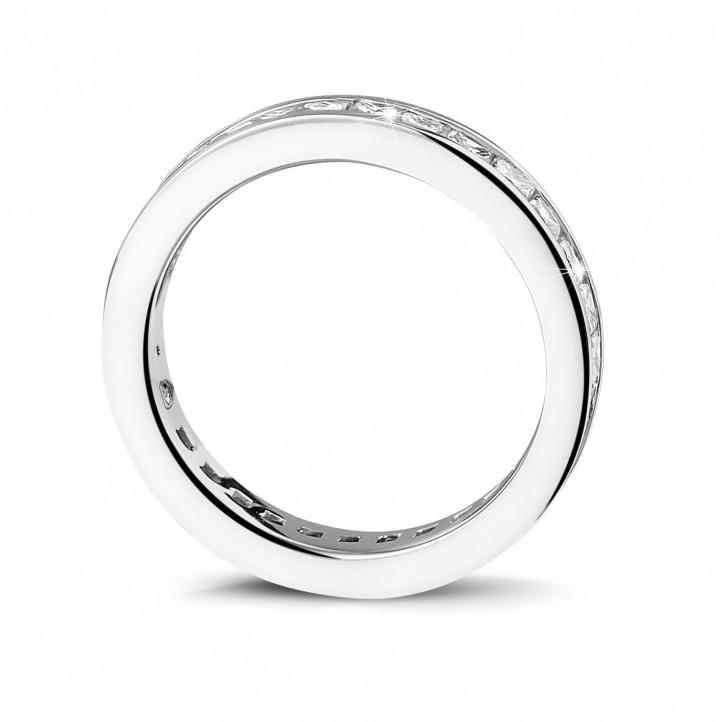 1.75 カラットのプリンセスダイヤモンド付きプラチナダイヤモンドエタニティリング (フルセット)