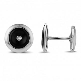 カフスボタン - オニックスとセンターダイヤモンド付きホワイトゴールドカフスボタン