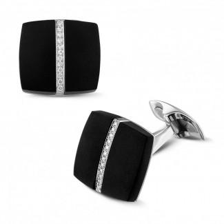 カフスボタン - オニックスとダイヤモンド付きホワイトゴールドカフスボタン