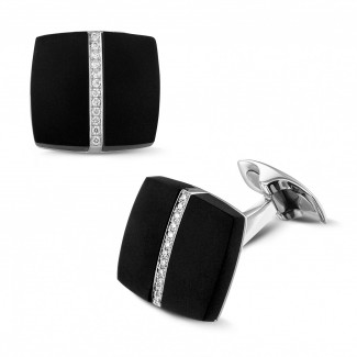 カフスボタン - オニキスとダイヤモンド付きプラチナカフスボタン