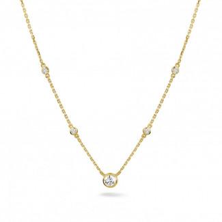 ダイヤモンドネックレス - 0.45 カラットのイエローゴールドダイヤモンドサテライトネックレス