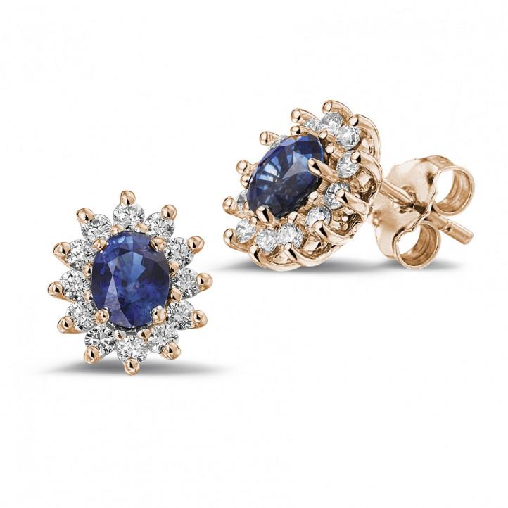 オーバルサファイヤとラウンドダイヤモンド付きピンクゴールド取り巻きイヤリング