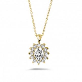 ネックレス - 1.85 カラットのオーバルとラウンドダイヤモンド付きイエローゴールド取り巻きペンダント