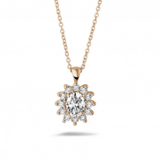ネックレス - 1.85 カラットのオーバルとラウンドダイヤモンド付きピンクゴールド取り巻きペンダント