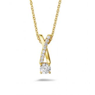 ダイヤモンドネックレス - 0.50 カラットのイエローゴールドダイヤモンドクロスペンダント