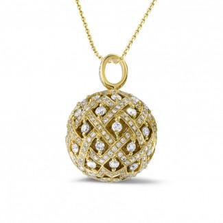 ダイヤモンドネックレス - 2.00 カラットのイエローゴールドダイヤモンドペンダント