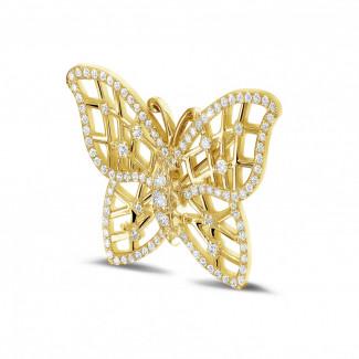 イエローゴールドダイヤモンドネックレス - 0.90 カラットのイエローゴールドダイヤモンドバタフライデザインブローチ