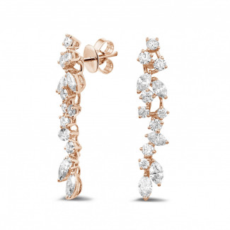 イヤリング - 2.70 カラットのラウンドダイヤモンドとマーキスダイヤモンド付きピンクゴールドイヤリング