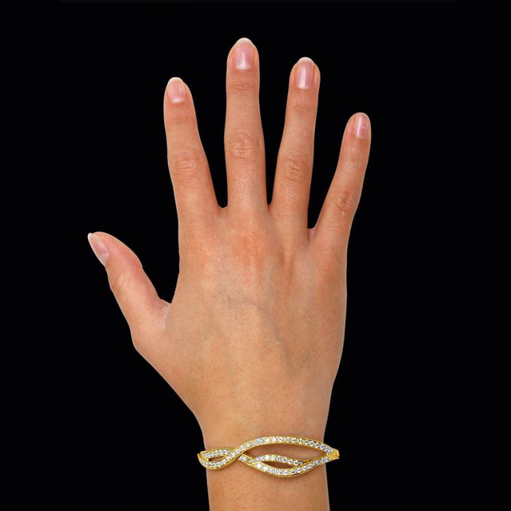 3.86 カラットのイエローゴールドダイヤモンドデザインブレスレット