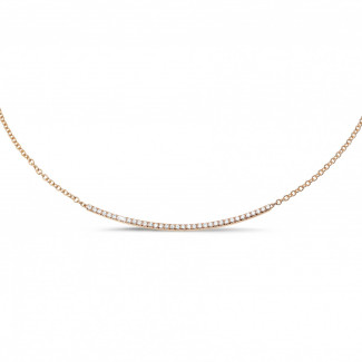 ダイヤモンドネックレス - 0.30 カラットのピンクゴールド細いダイヤモンドネックレス