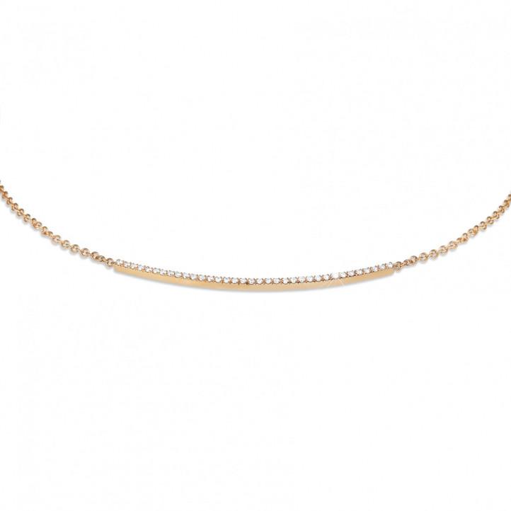 0.30 カラットのピンクゴールド細いダイヤモンドネックレス