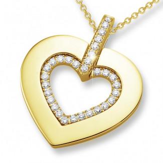 ネックレス - 0.36 カラットの小さなラウンドダイヤモンド付きイエローゴールドハートシェイプのペンダント