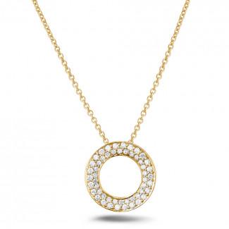 ダイヤモンドペンダント  - 0.34 カラットのイエローゴールドダイヤモンドネックレス