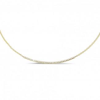 ダイヤモンドネックレス - 0.30 カラットのイエローゴールド細いダイヤモンドネックレス