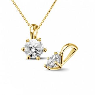 ネックレス - 1.00 カラットのラウンドダイヤモンド付きイエローゴールドソリテールペンダント