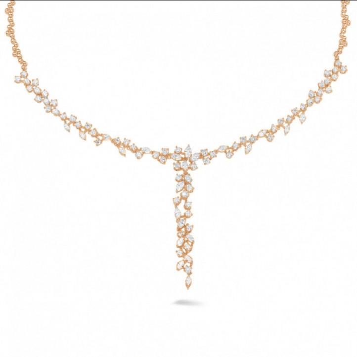 5.85 カラットのラウンドダイヤモンドとマーキスダイヤモンド付きピンクゴールドネックレス
