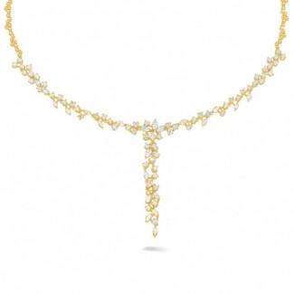 ダイヤモンドネックレス - 5.85 カラットのラウンドダイヤモンドとマーキスダイヤモンド付きイエローゴールドネックレス