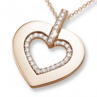 ネックレス - 0.36 カラットの小さなラウンドダイヤモンド付きピンクゴールドハートシェイプのペンダント
