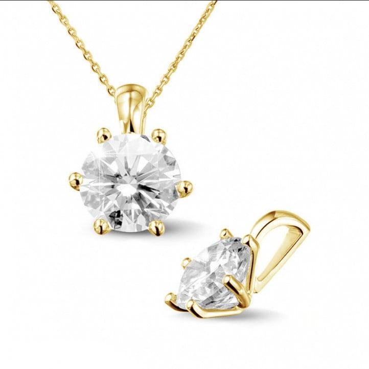 2.00 カラットのラウンドダイヤモンド付きイエローゴールドソリテールペンダント
