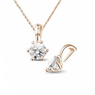 0.75 カラットのラウンドダイヤモンド付きピンクゴールドソリテールペンダンント