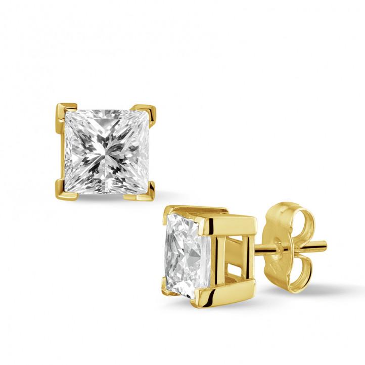 2.50 カラットのプリンセスダイヤモンド付きイエローゴールドイヤリング