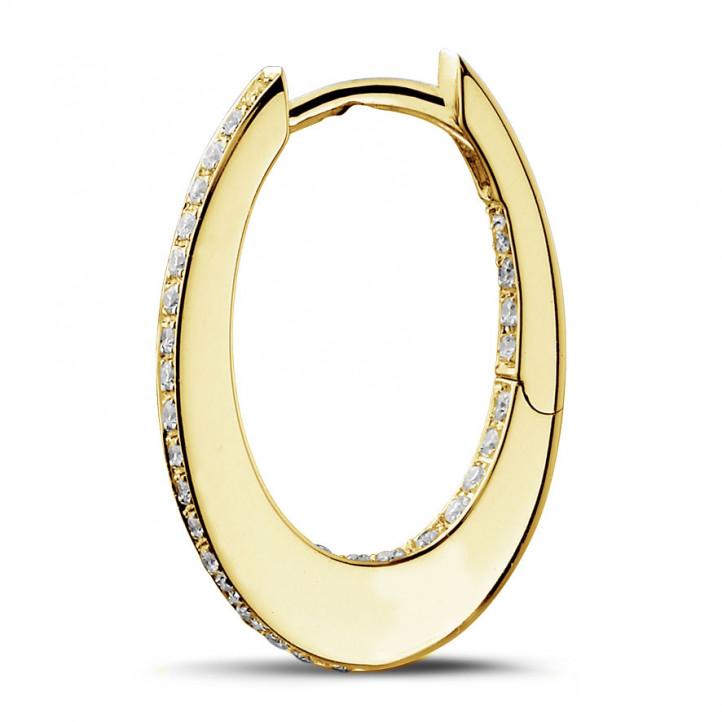 0.22 カラットのイエローゴールドダイヤモンドクレオールイヤリング