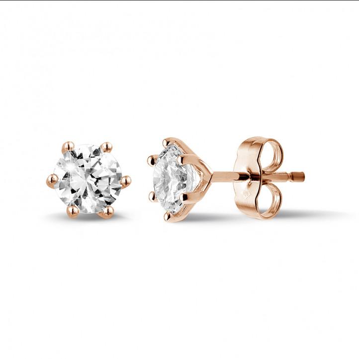 1.50 カラットの6つのプロング付きクラシックピンクゴールドダイヤモンドイヤリング