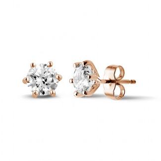 イヤリング - 2.00 カラットの6つのプロング付きクラシックピンクゴールドダイヤモンドイヤリング