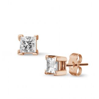 イヤリング - 1.00 カラットのプリンセスダイヤモンド付きピンクゴールドイヤリング