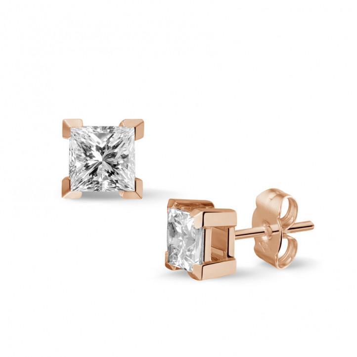 1.50 カラットのプリンセスダイヤモンド付きピンクゴールドイヤリング