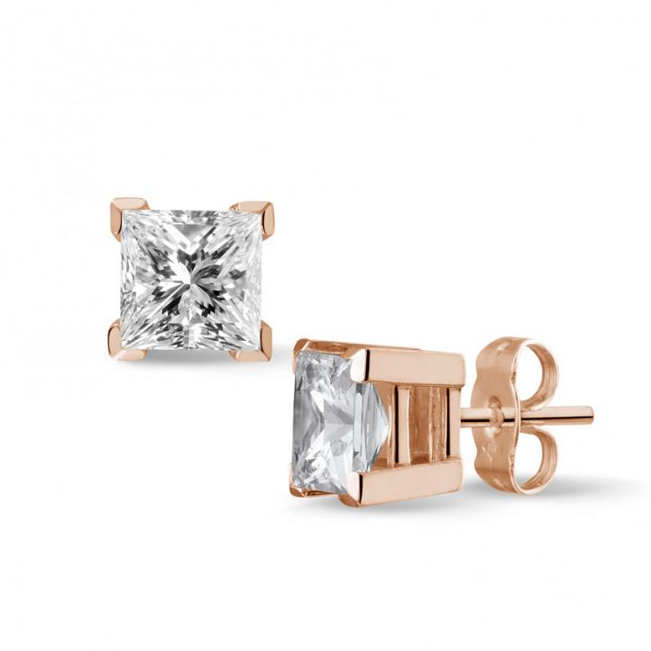 2.00 カラットのプリンセスダイヤモンド付きピンクゴールドイヤリング