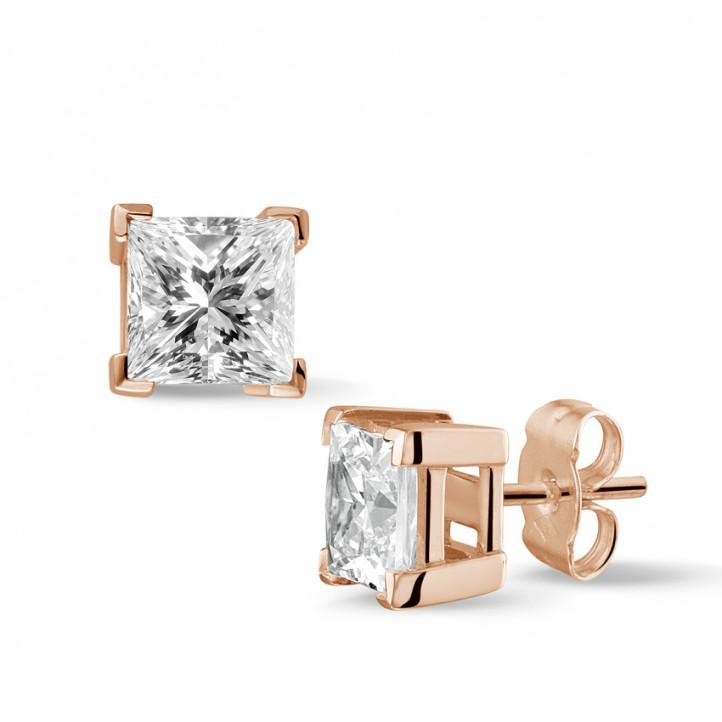2.50 カラットのプリンセスダイヤモンド付きピンクゴールドイヤリング