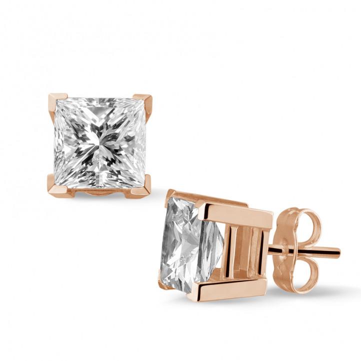 3.00 カラットのプリンセスダイヤモンド付きピンクゴールドイヤリング