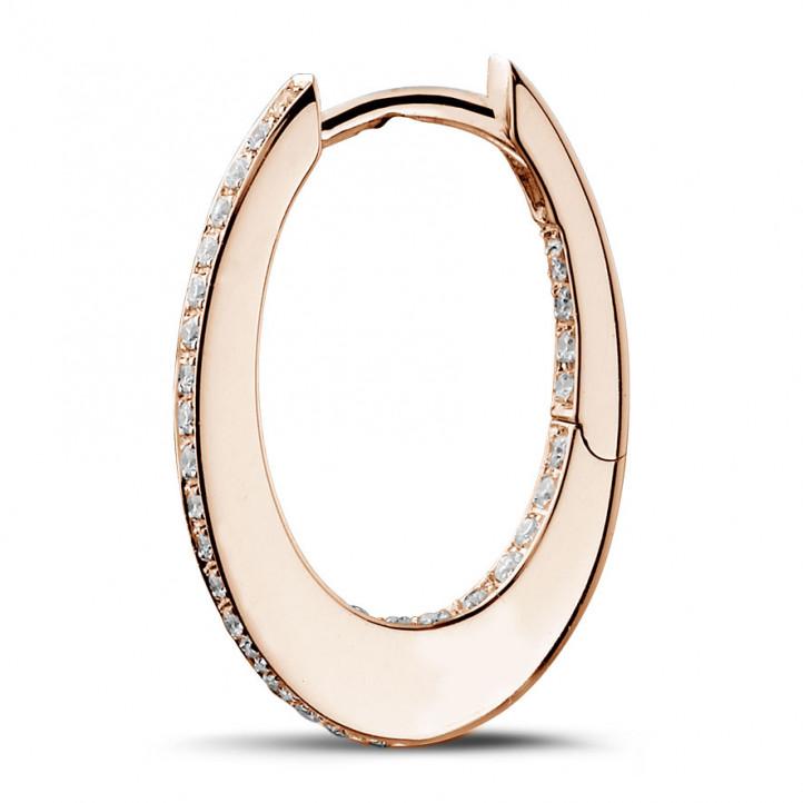 0.22 カラットのピンクゴールドダイヤモンドクレオールイヤリング