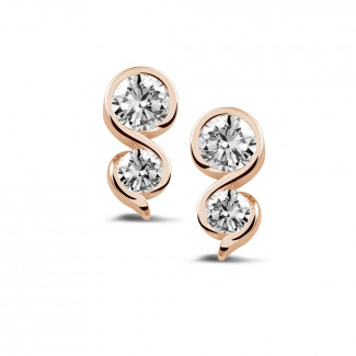 イヤリング - 1.00 カラットのピンクゴールドダイヤモンドイヤリング
