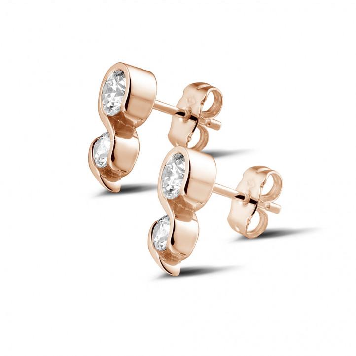 1.00 カラットのピンクゴールドダイヤモンドイヤリング