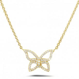 ネックレス - 0.30 カラットのイエローゴールドダイヤモンドバタフライデザインネックレス