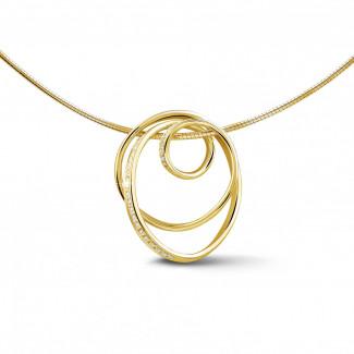 イエローゴールド - 0.48 カラットのイエローゴールドダイヤモンドデザインペンダント
