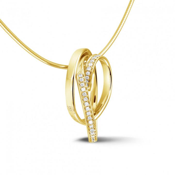 0.48 カラットのイエローゴールドダイヤモンドデザインペンダント