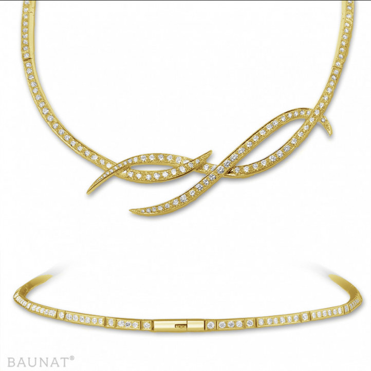 8.60 カラットのイエローゴールドダイヤモンドデザインネックレス