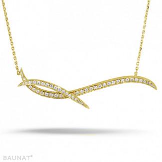 ネックレス - 1.06 カラットのイエローゴールドダイヤモンドデザインネックレス