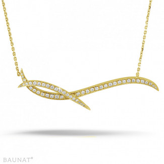 ダイヤモンドネックレス - 1.06 カラットのイエローゴールドダイヤモンドデザインネックレス