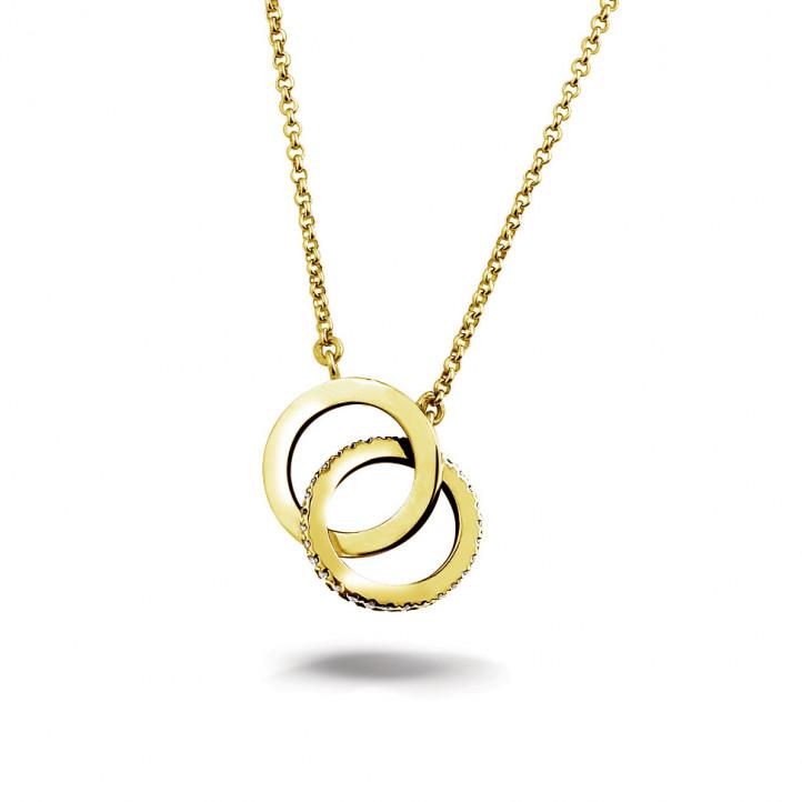 0.20 カラットのイエローゴールドダイヤモンドインフィニティデザインネックレス