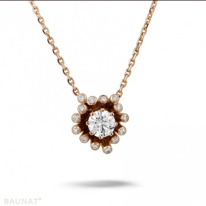 0.75 カラットのピンクゴールドダイヤモンドデザインペンダント