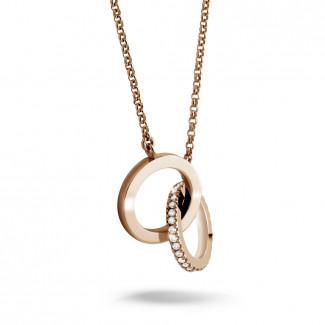 ダイヤモンドネックレス - 0.20 カラットのピンクゴールドダイヤモンドインフィニティデザインネックレス