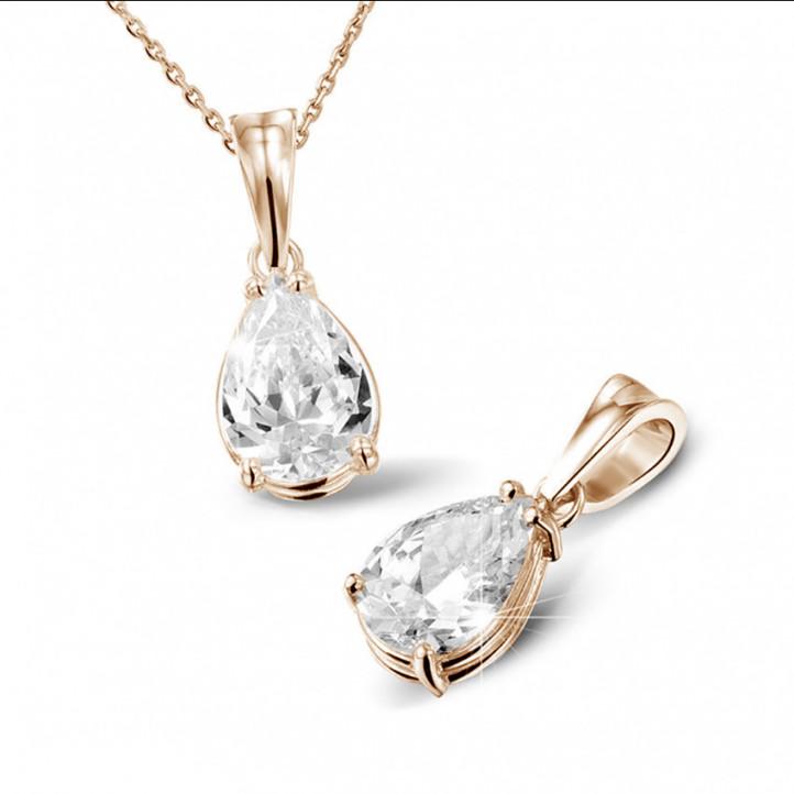 2.00 カラットのペアーシェイプのダイヤモンド付きピンクゴールドソリテールペンダント